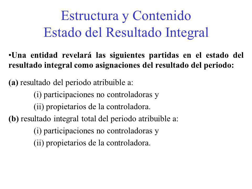 Estructura y Contenido Estado del Resultado Integral Una entidad revelará las siguientes partidas en el estado del resultado integral como asignaciones del resultado del periodo: (a) resultado del periodo atribuible a: (i) participaciones no controladoras y (ii) propietarios de la controladora.
