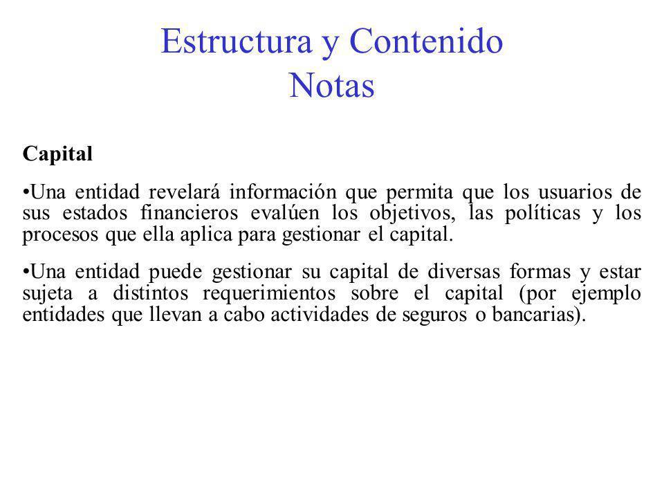 Estructura y Contenido Notas Capital Una entidad revelará información que permita que los usuarios de sus estados financieros evalúen los objetivos, las políticas y los procesos que ella aplica para gestionar el capital.