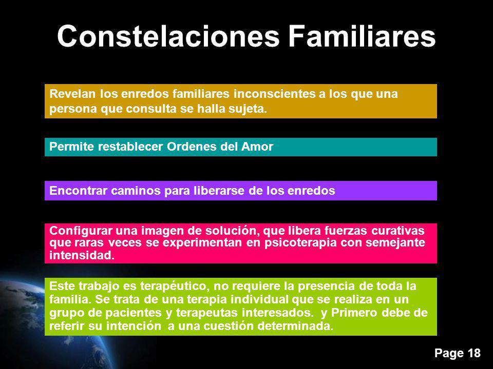 Page 18 Constelaciones Familiares Revelan los enredos familiares inconscientes a los que una persona que consulta se halla sujeta. Permite restablecer