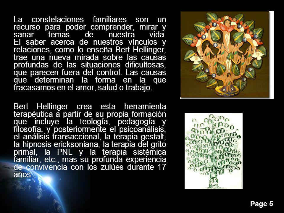 Page 5 La constelaciones familiares son un recurso para poder comprender, mirar y sanar temas de nuestra vida. El saber acerca de nuestros vínculos y