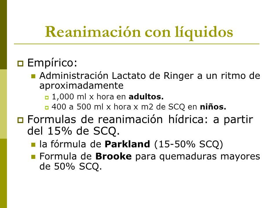 Reanimación con líquidos Empírico: Administración Lactato de Ringer a un ritmo de aproximadamente 1,000 ml x hora en adultos. 400 a 500 ml x hora x m2