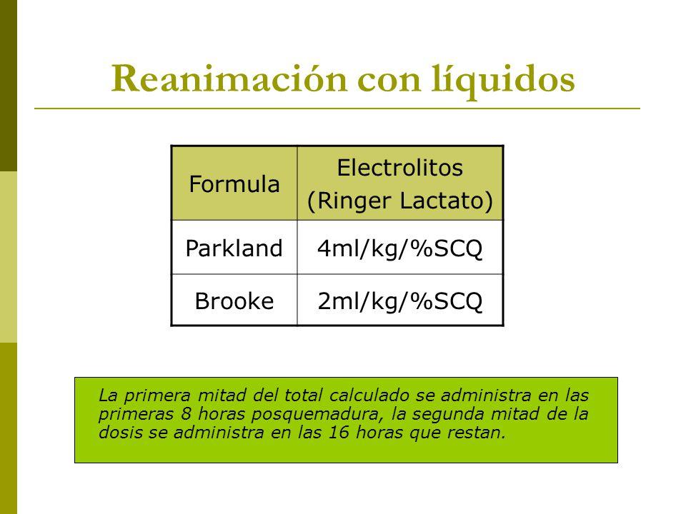 Reanimación con líquidos Formula Electrolitos (Ringer Lactato) Parkland4ml/kg/%SCQ Brooke2ml/kg/%SCQ La primera mitad del total calculado se administr