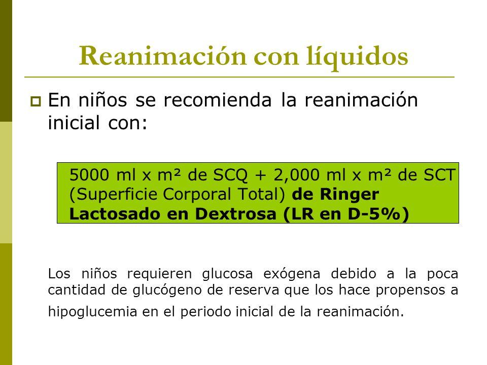 Reanimación con líquidos En niños se recomienda la reanimación inicial con: 5000 ml x m² de SCQ + 2,000 ml x m² de SCT (Superficie Corporal Total) de