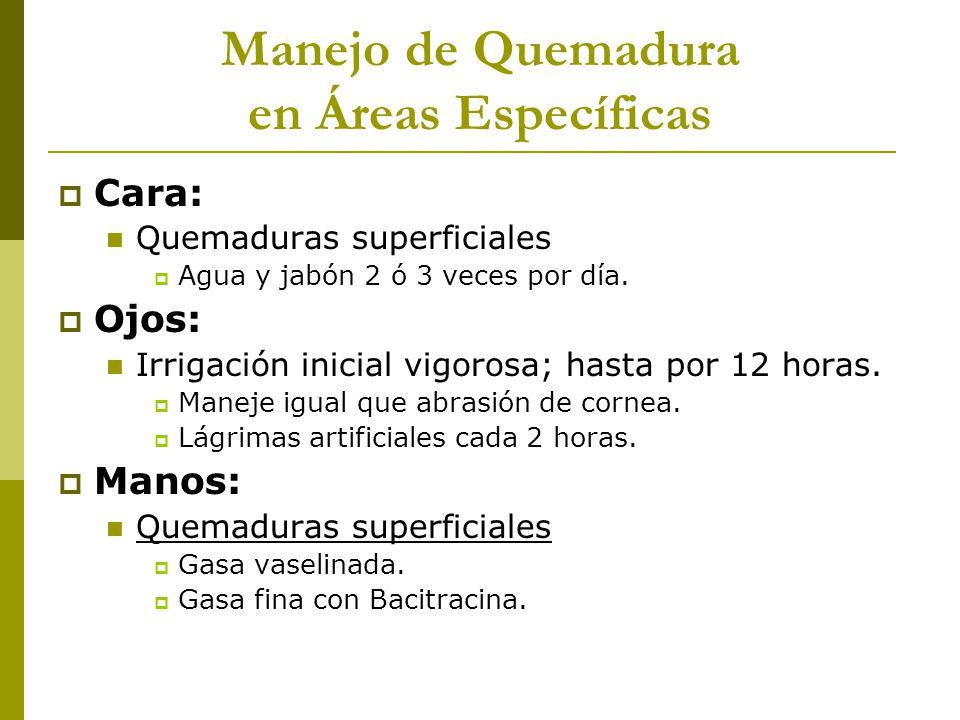 Manejo de Quemadura en Áreas Específicas Cara: Quemaduras superficiales Agua y jabón 2 ó 3 veces por día. Ojos: Irrigación inicial vigorosa; hasta por