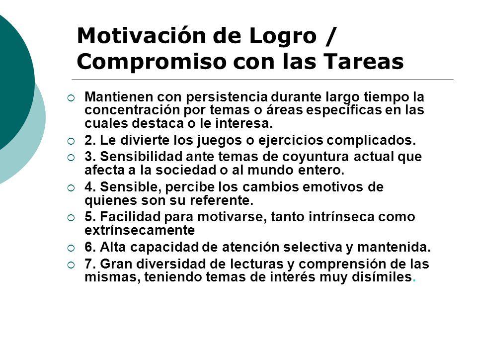 Motivación de Logro / Compromiso con las Tareas Mantienen con persistencia durante largo tiempo la concentración por temas o áreas específicas en las cuales destaca o le interesa.