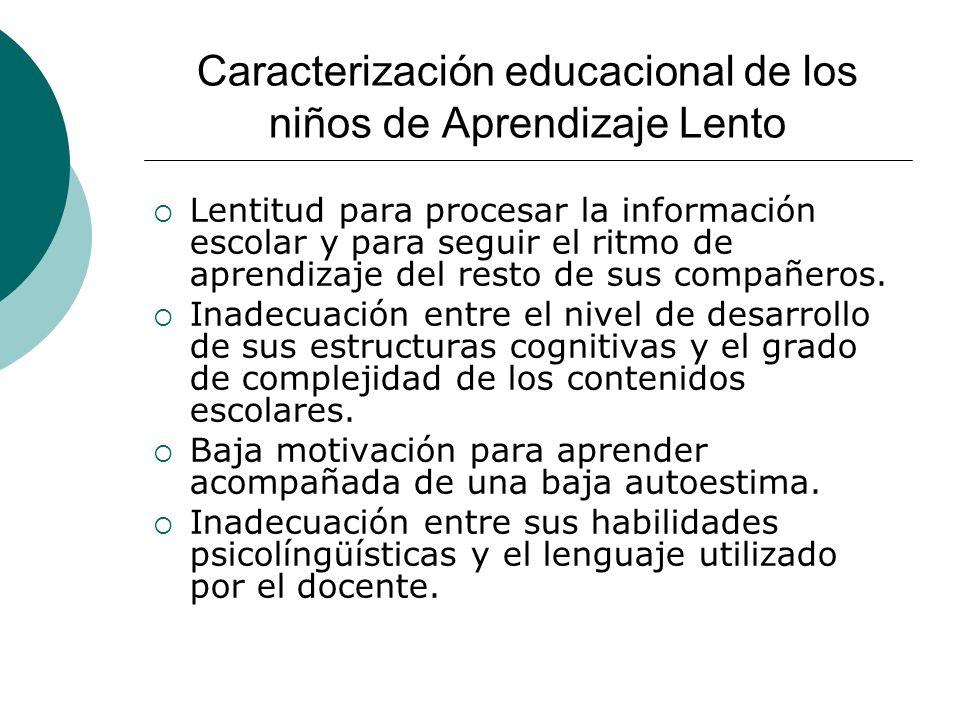 Caracterización educacional de los niños de Aprendizaje Lento Lentitud para procesar la información escolar y para seguir el ritmo de aprendizaje del resto de sus compañeros.