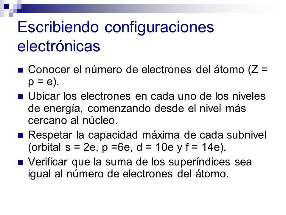 Escribiendo configuraciones electrónicas Conocer el número de electrones del átomo (Z = p = e). Ubicar los electrones en cada uno de los niveles de en