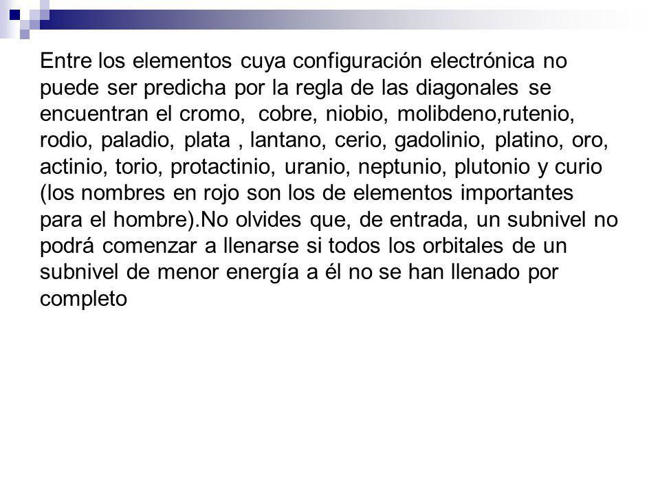 Entre los elementos cuya configuración electrónica no puede ser predicha por la regla de las diagonales se encuentran el cromo, cobre, niobio, molibde