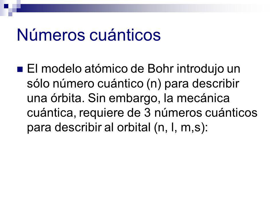Números cuánticos El modelo atómico de Bohr introdujo un sólo número cuántico (n) para describir una órbita. Sin embargo, la mecánica cuántica, requie