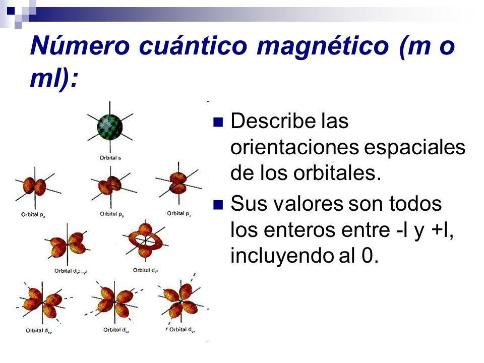 Número cuántico magnético (m o ml): Describe las orientaciones espaciales de los orbitales. Sus valores son todos los enteros entre -l y +l, incluyend