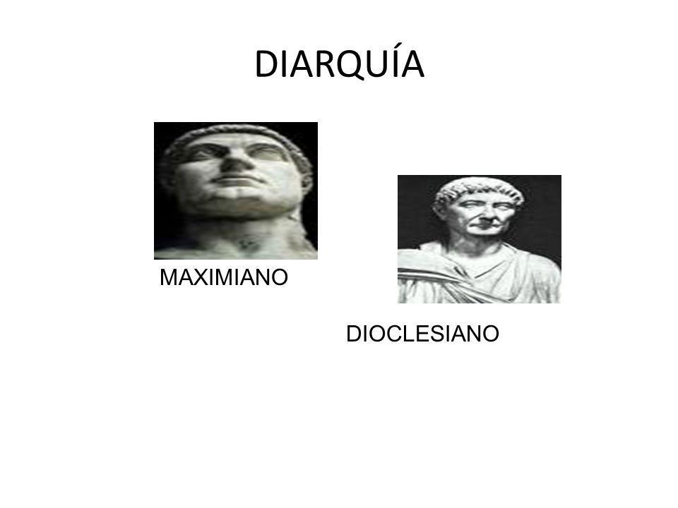 DIOCLESIANO (284-305) Nombrado emperador por el ejército de Oriente OBJETIVOS Fortalecer las fronteras Imponer el orden dentro del Imperio