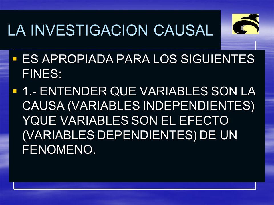 LA INVESTIGACION CAUSAL ES APROPIADA PARA LOS SIGUIENTES FINES: ES APROPIADA PARA LOS SIGUIENTES FINES: 1.- ENTENDER QUE VARIABLES SON LA CAUSA (VARIABLES INDEPENDIENTES) YQUE VARIABLES SON EL EFECTO (VARIABLES DEPENDIENTES) DE UN FENOMENO.