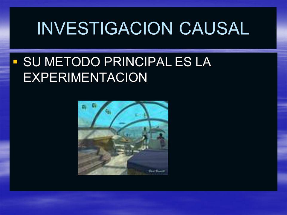INVESTIGACION CAUSAL SU METODO PRINCIPAL ES LA EXPERIMENTACION SU METODO PRINCIPAL ES LA EXPERIMENTACION