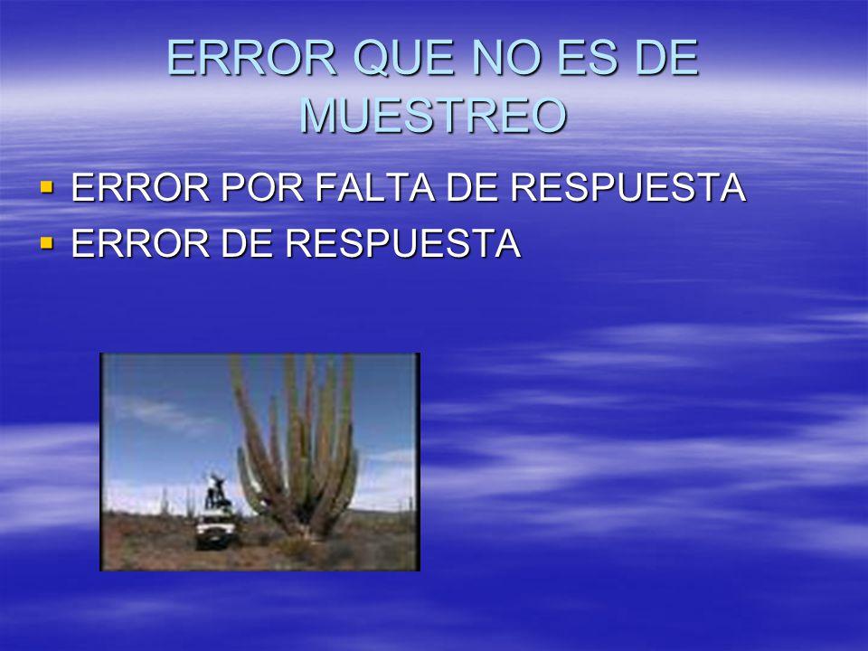 ERROR QUE NO ES DE MUESTREO ERROR POR FALTA DE RESPUESTA ERROR POR FALTA DE RESPUESTA ERROR DE RESPUESTA ERROR DE RESPUESTA