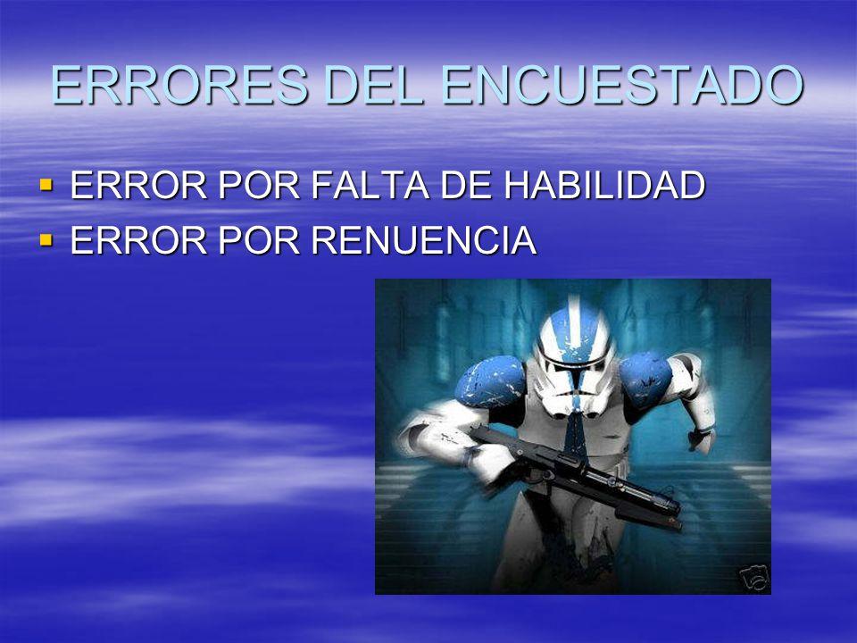 ERRORES DEL ENCUESTADO ERROR POR FALTA DE HABILIDAD ERROR POR FALTA DE HABILIDAD ERROR POR RENUENCIA ERROR POR RENUENCIA