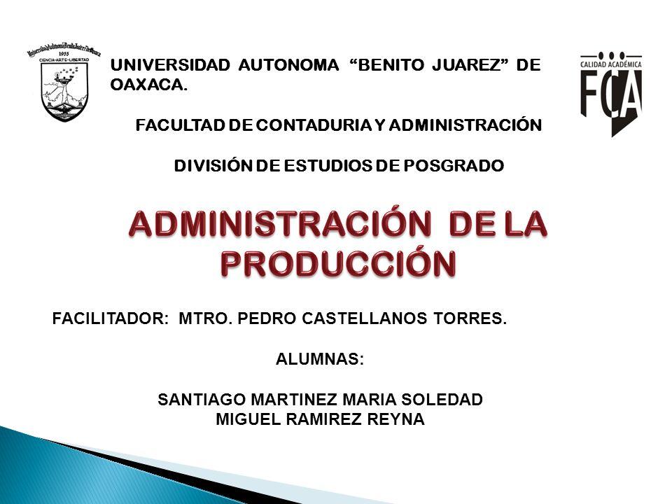 UNIVERSIDAD AUTONOMA BENITO JUAREZ DE OAXACA. FACULTAD DE CONTADURIA Y ADMINISTRACIÓN DIVISIÓN DE ESTUDIOS DE POSGRADO FACILITADOR: MTRO. PEDRO CASTEL