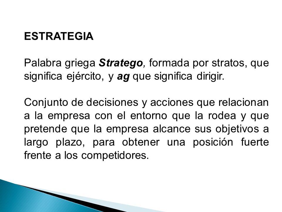ESTRATEGIA Palabra griega Stratego, formada por stratos, que significa ejército, y ag que significa dirigir. Conjunto de decisiones y acciones que rel