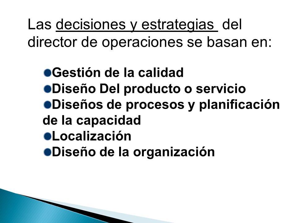 Las decisiones y estrategias del director de operaciones se basan en: Gestión de la calidad Diseño Del producto o servicio Diseños de procesos y plani