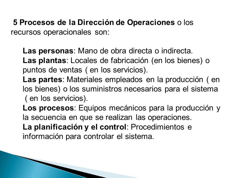 5 Procesos de la Dirección de Operaciones o los recursos operacionales son: Las personas: Mano de obra directa o indirecta. Las plantas: Locales de fa