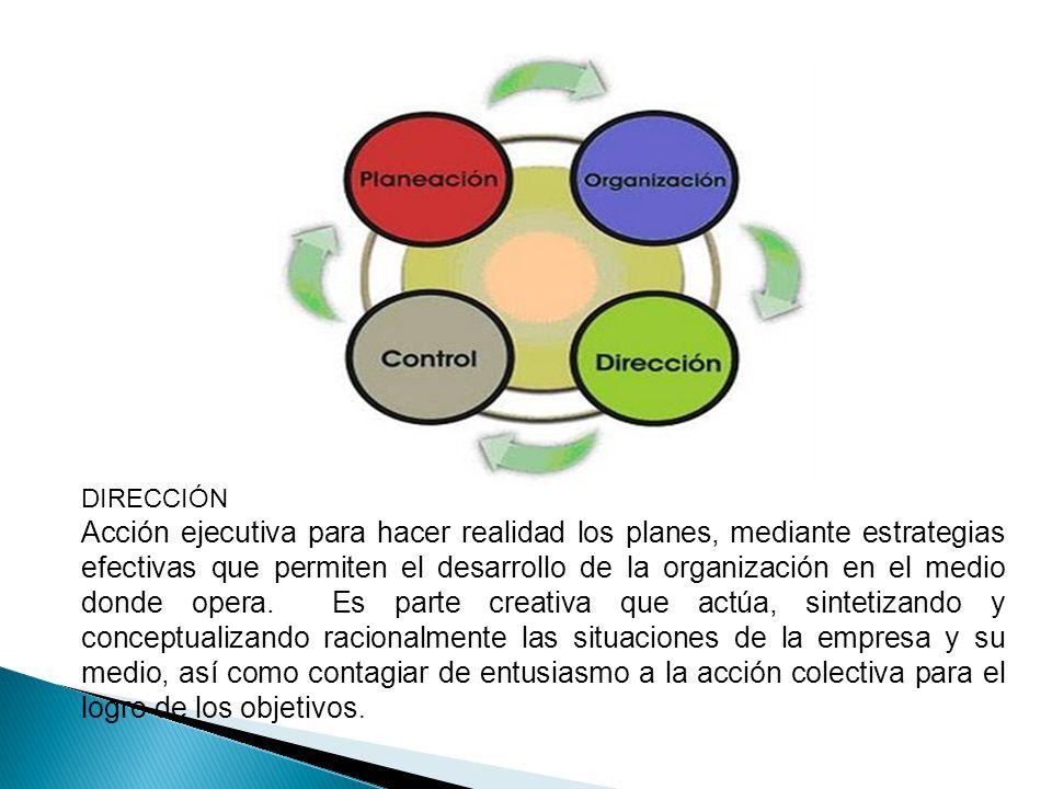 DIRECCIÓN Acción ejecutiva para hacer realidad los planes, mediante estrategias efectivas que permiten el desarrollo de la organización en el medio do