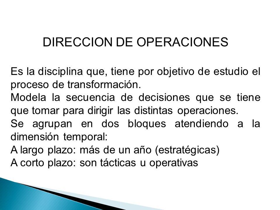 DIRECCION DE OPERACIONES Es la disciplina que, tiene por objetivo de estudio el proceso de transformación. Modela la secuencia de decisiones que se ti