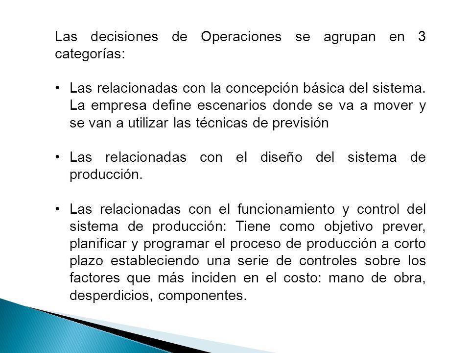 Las decisiones de Operaciones se agrupan en 3 categorías: Las relacionadas con la concepción básica del sistema. La empresa define escenarios donde se