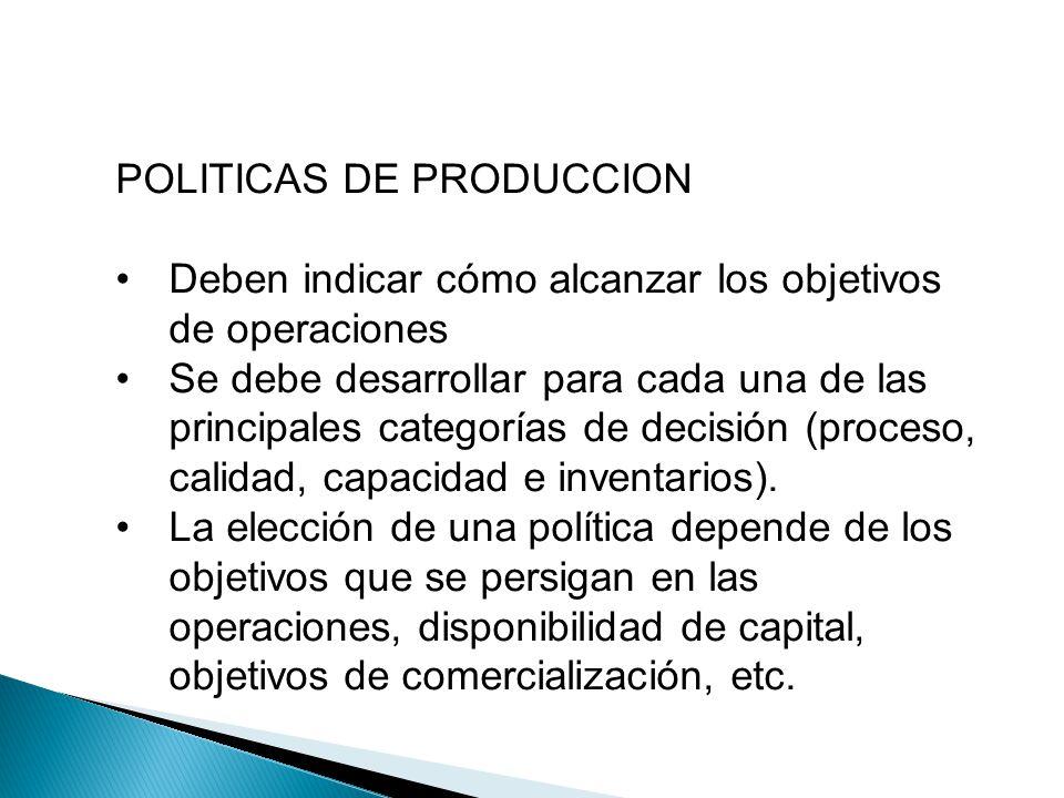 POLITICAS DE PRODUCCION Deben indicar cómo alcanzar los objetivos de operaciones Se debe desarrollar para cada una de las principales categorías de de