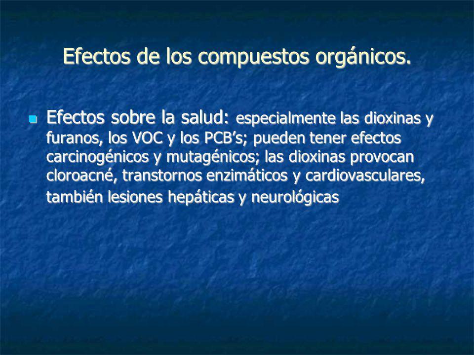 Efectos de los compuestos orgánicos. Efectos sobre la salud: especialmente las dioxinas y furanos, los VOC y los PCBs; pueden tener efectos carcinogén