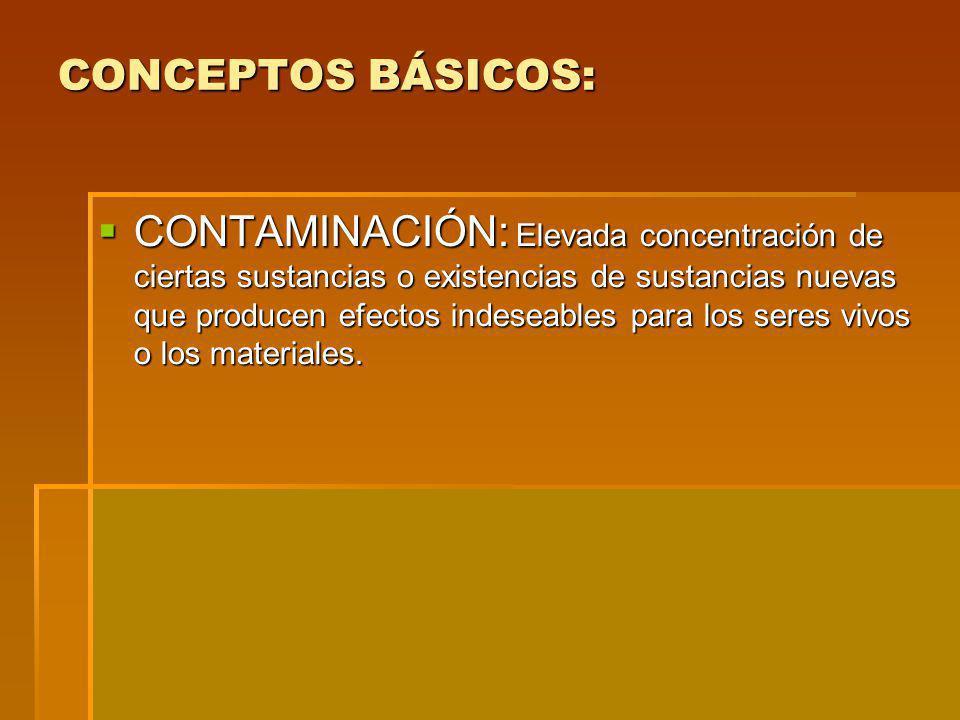 CONCEPTOS BÁSICOS: CONTAMINACIÓN: Elevada concentración de ciertas sustancias o existencias de sustancias nuevas que producen efectos indeseables para los seres vivos o los materiales.