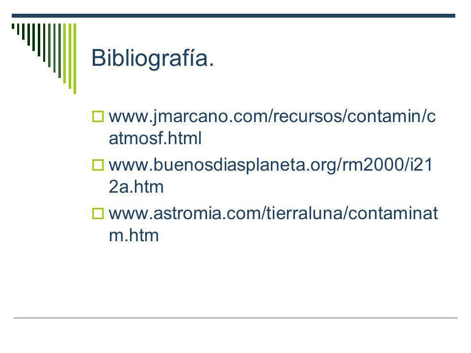 Bibliografía. www.jmarcano.com/recursos/contamin/c atmosf.html www.buenosdiasplaneta.org/rm2000/i21 2a.htm www.astromia.com/tierraluna/contaminat m.ht