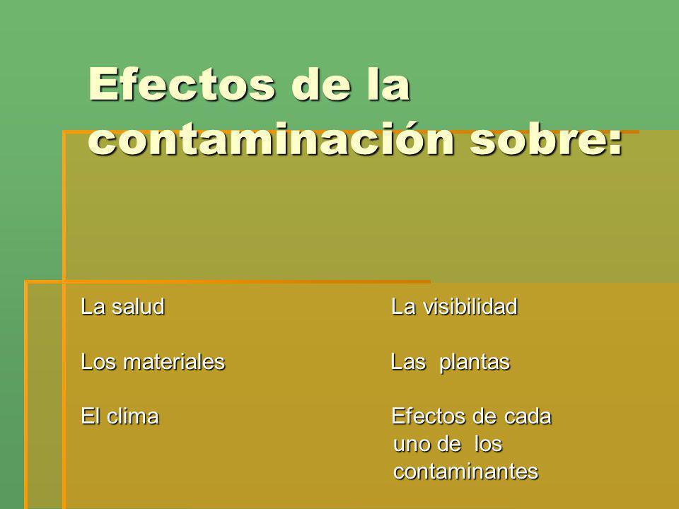 Efectos de la contaminación sobre: La salud La visibilidad Los materiales Las plantas El clima Efectos de cada uno de los uno de los contaminantes con