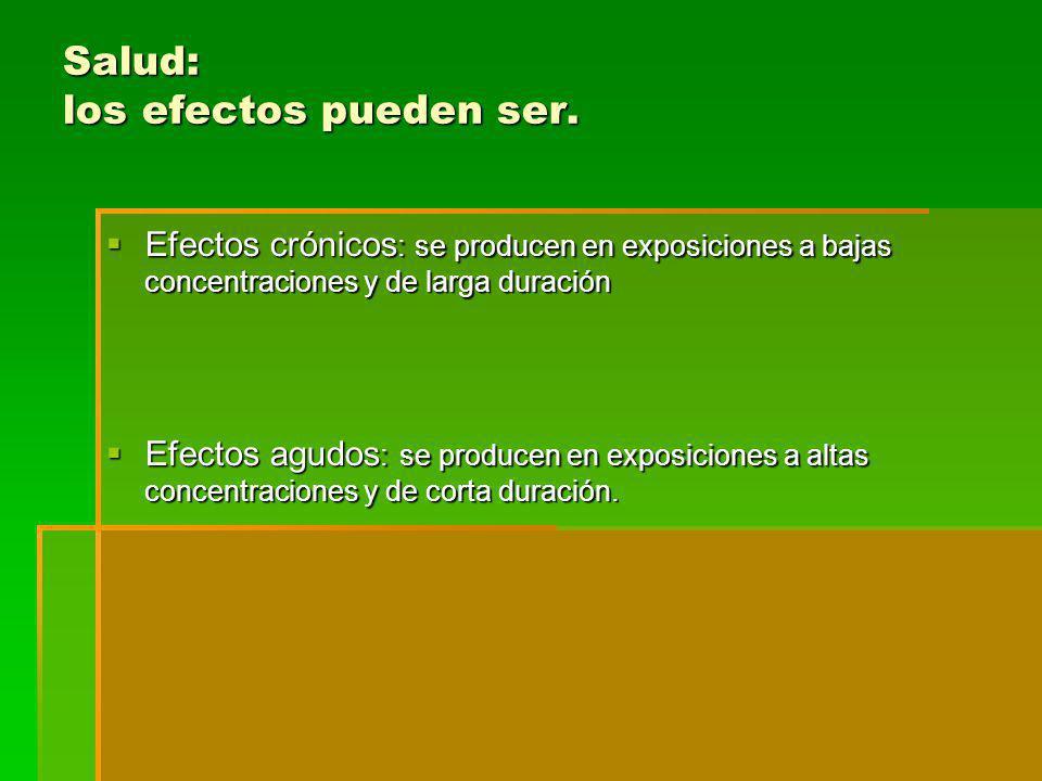 Salud: los efectos pueden ser. Efectos crónicos : se producen en exposiciones a bajas concentraciones y de larga duración Efectos crónicos : se produc