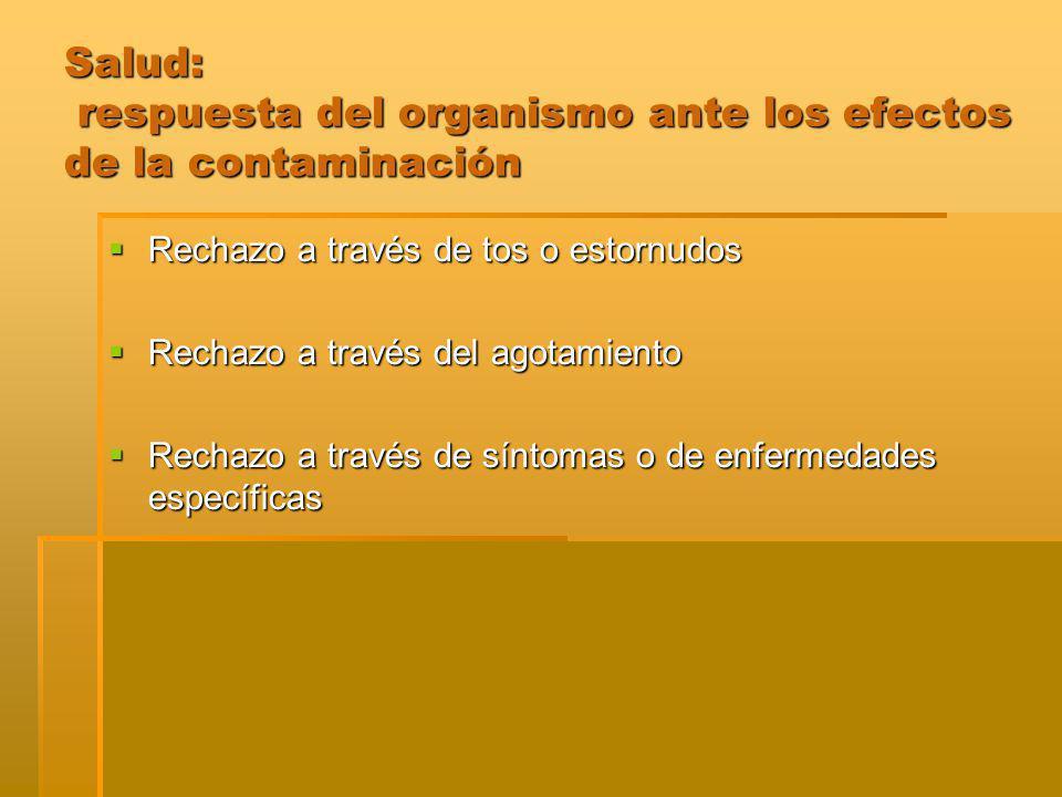 Salud: respuesta del organismo ante los efectos de la contaminación Rechazo a través de tos o estornudos Rechazo a través de tos o estornudos Rechazo