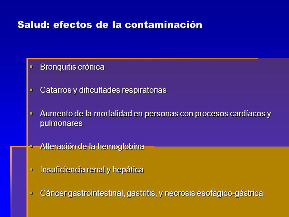 Salud: efectos de la contaminación Bronquitis crónica Bronquitis crónica Catarros y dificultades respiratorias Catarros y dificultades respiratorias Aumento de la mortalidad en personas con procesos cardíacos y pulmonares Aumento de la mortalidad en personas con procesos cardíacos y pulmonares Alteración de la hemoglobina Alteración de la hemoglobina Insuficiencia renal y hepática Insuficiencia renal y hepática Cáncer gastrointestinal, gastritis, y necrosis esofágico-gástrica Cáncer gastrointestinal, gastritis, y necrosis esofágico-gástrica