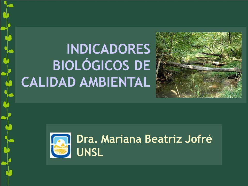 INDICADORES BIOLÓGICOS DE CALIDAD AMBIENTAL Dra. Mariana Beatriz Jofré UNSL