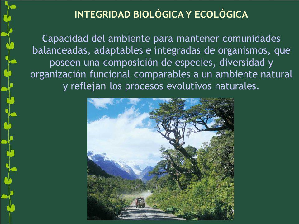 INTEGRIDAD BIOLÓGICA Y ECOLÓGICA Capacidad del ambiente para mantener comunidades balanceadas, adaptables e integradas de organismos, que poseen una composición de especies, diversidad y organización funcional comparables a un ambiente natural y reflejan los procesos evolutivos naturales.