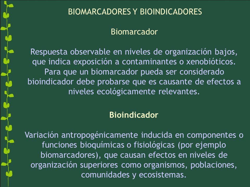 Bioindicador Variación antropogénicamente inducida en componentes o funciones bioquímicas o fisiológicas (por ejemplo biomarcadores), que causan efectos en niveles de organización superiores como organismos, poblaciones, comunidades y ecosistemas.