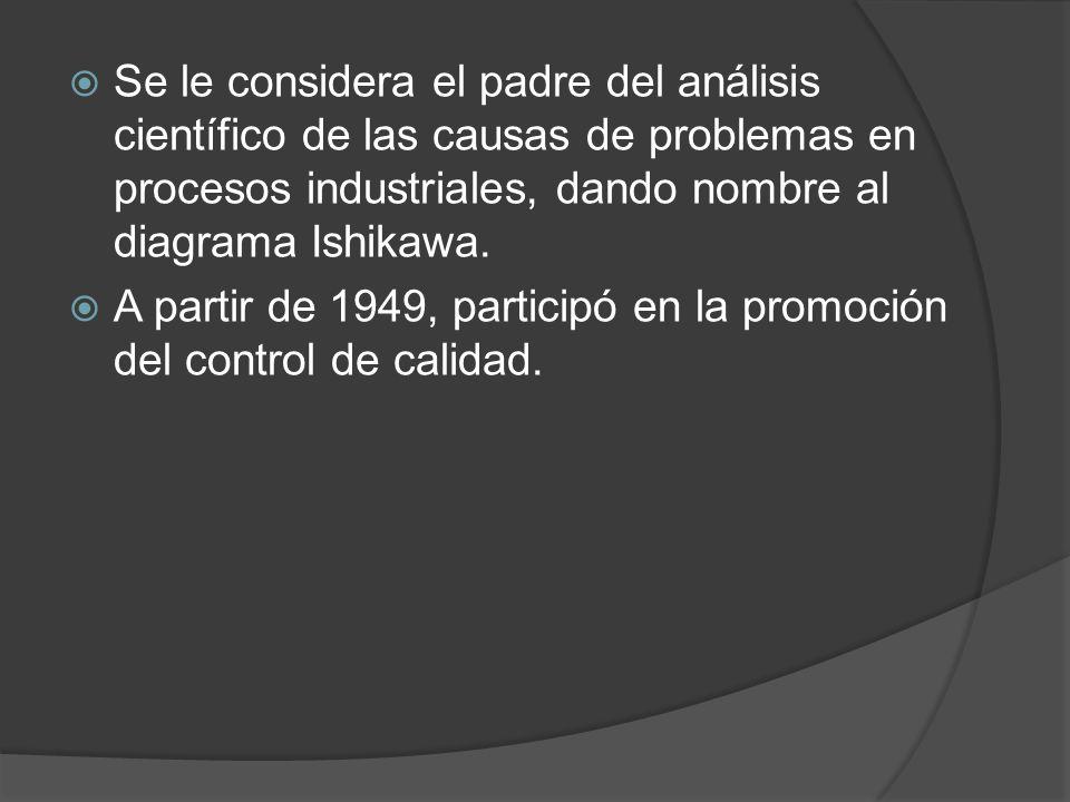 Se le considera el padre del análisis científico de las causas de problemas en procesos industriales, dando nombre al diagrama Ishikawa. A partir de 1