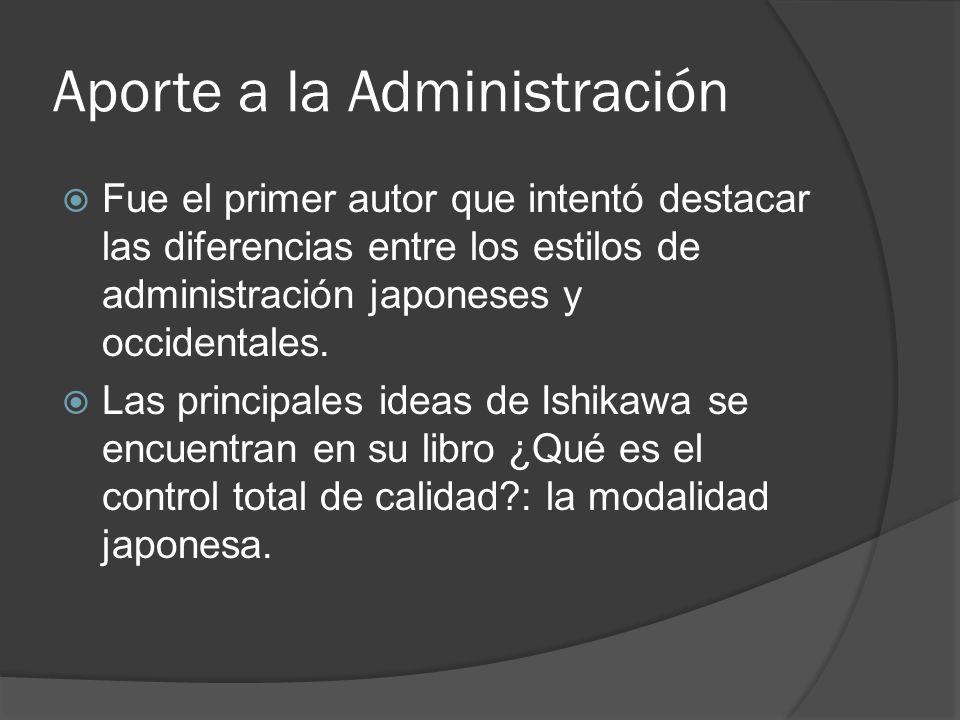Aporte a la Administración Fue el primer autor que intentó destacar las diferencias entre los estilos de administración japoneses y occidentales. Las