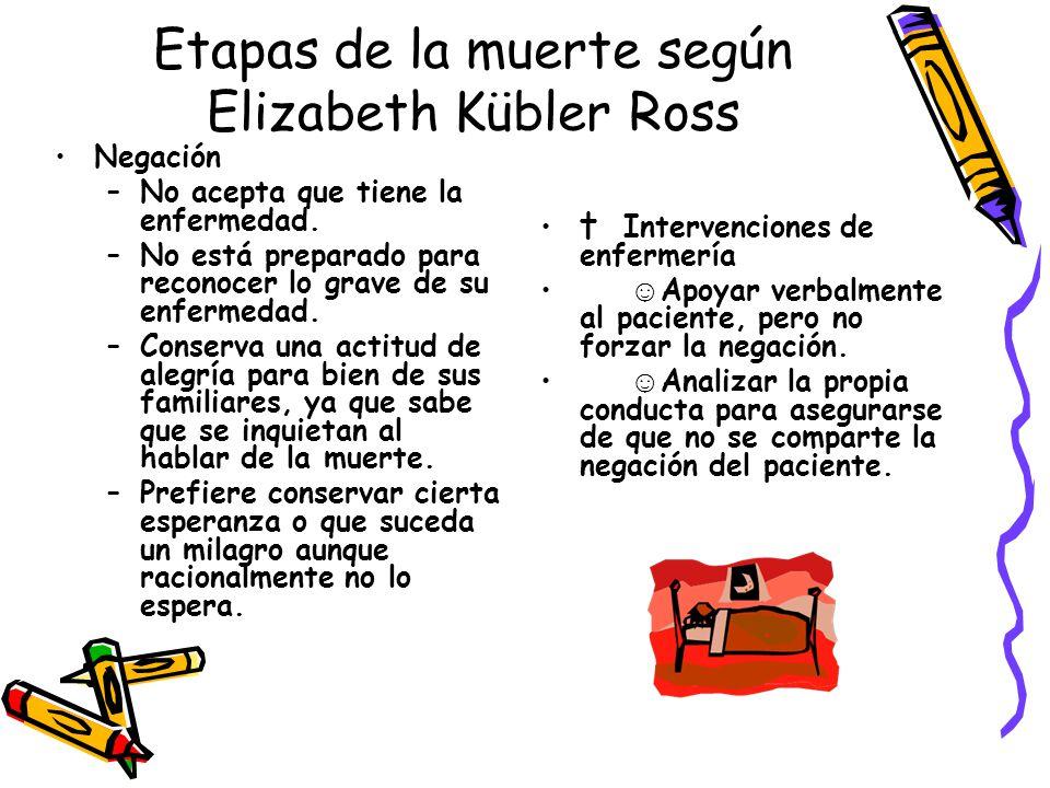 Etapas de la muerte según Elizabeth Kübler Ross Negación –No acepta que tiene la enfermedad. –No está preparado para reconocer lo grave de su enfermed