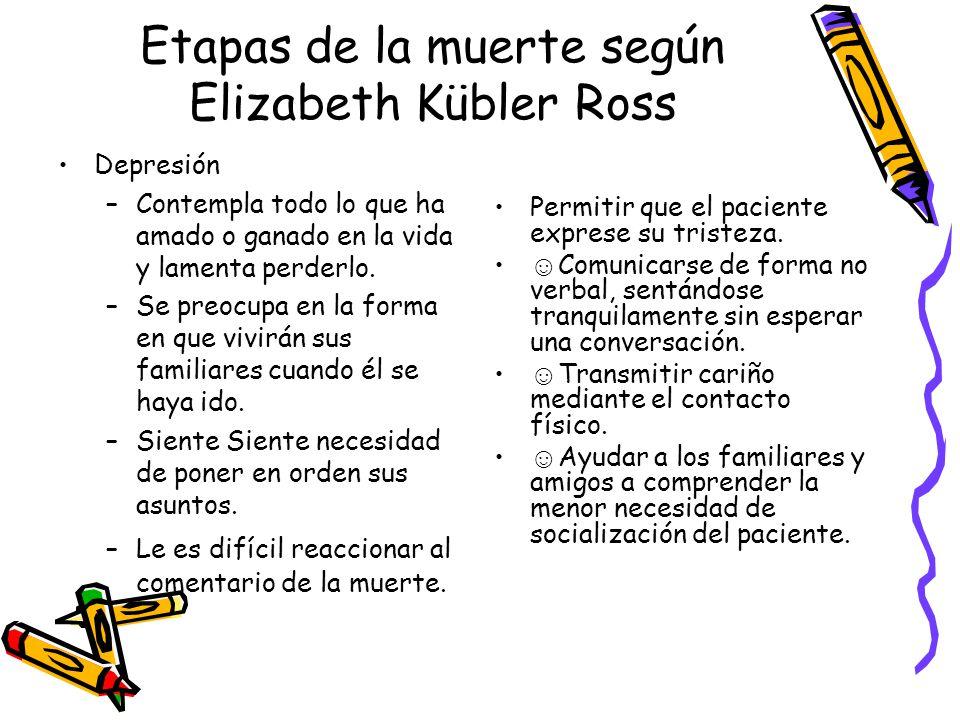 Etapas de la muerte según Elizabeth Kübler Ross Depresión –Contempla todo lo que ha amado o ganado en la vida y lamenta perderlo. –Se preocupa en la f