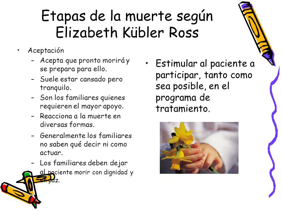 Etapas de la muerte según Elizabeth Kübler Ross Aceptación –Acepta que pronto morirá y se prepara para ello. –Suele estar cansado pero tranquilo. –Son