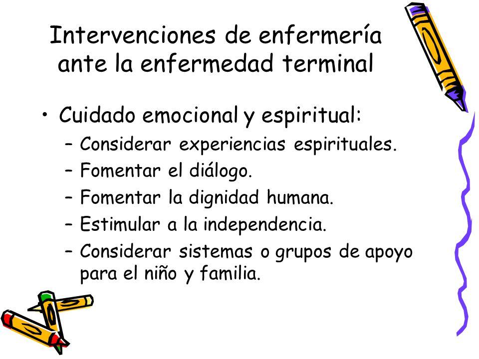 Intervenciones de enfermería ante la enfermedad terminal Cuidado hacia los padres: –Permitirles que expresen sus sentimientos.