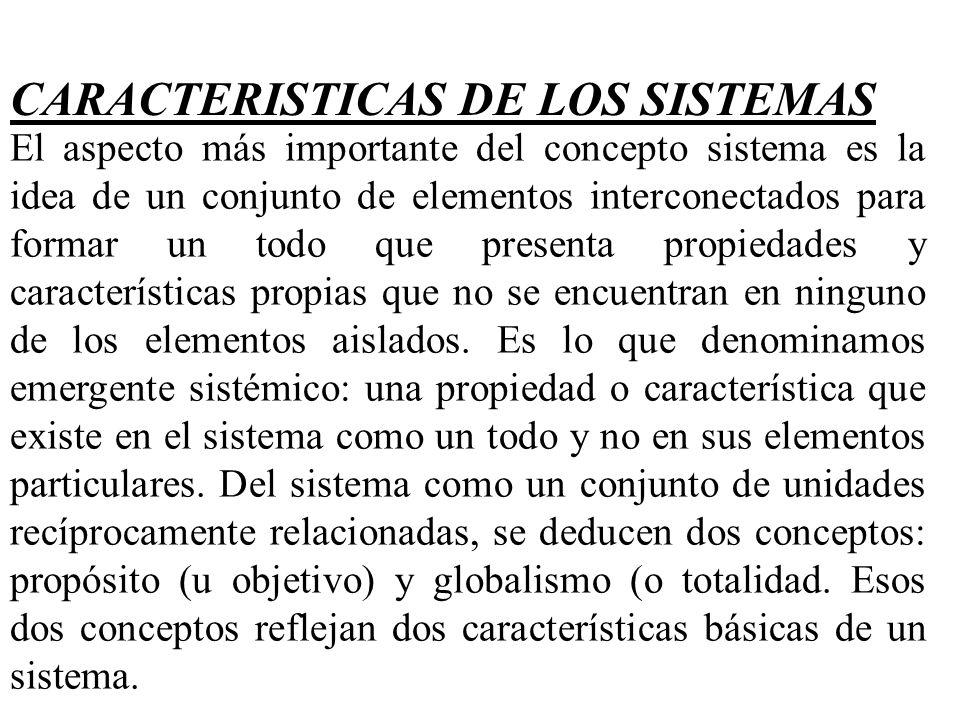 CARACTERISTICAS DE LOS SISTEMAS El aspecto más importante del concepto sistema es la idea de un conjunto de elementos interconectados para formar un t