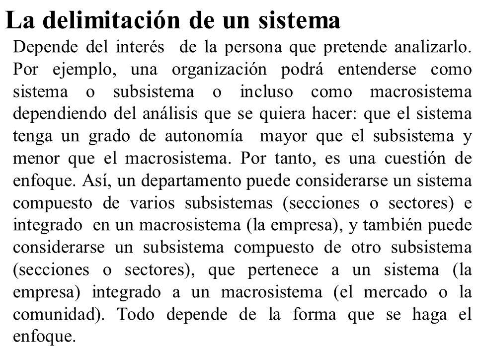 La delimitación de un sistema Depende del interés de la persona que pretende analizarlo. Por ejemplo, una organización podrá entenderse como sistema o