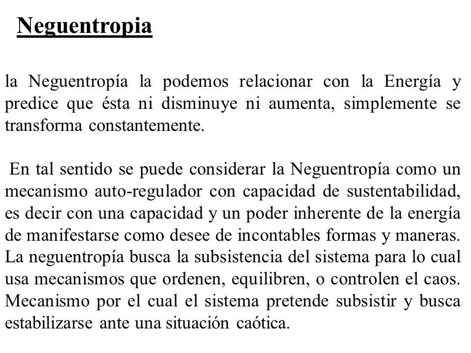 la Neguentropía la podemos relacionar con la Energía y predice que ésta ni disminuye ni aumenta, simplemente se transforma constantemente. En tal sent