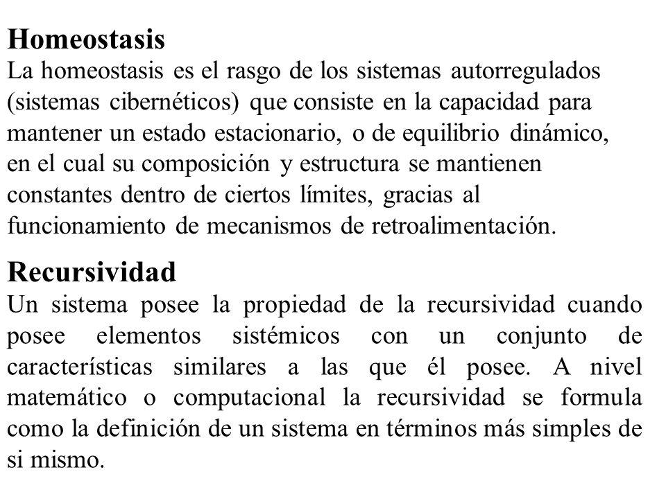 Homeostasis La homeostasis es el rasgo de los sistemas autorregulados (sistemas cibernéticos) que consiste en la capacidad para mantener un estado est