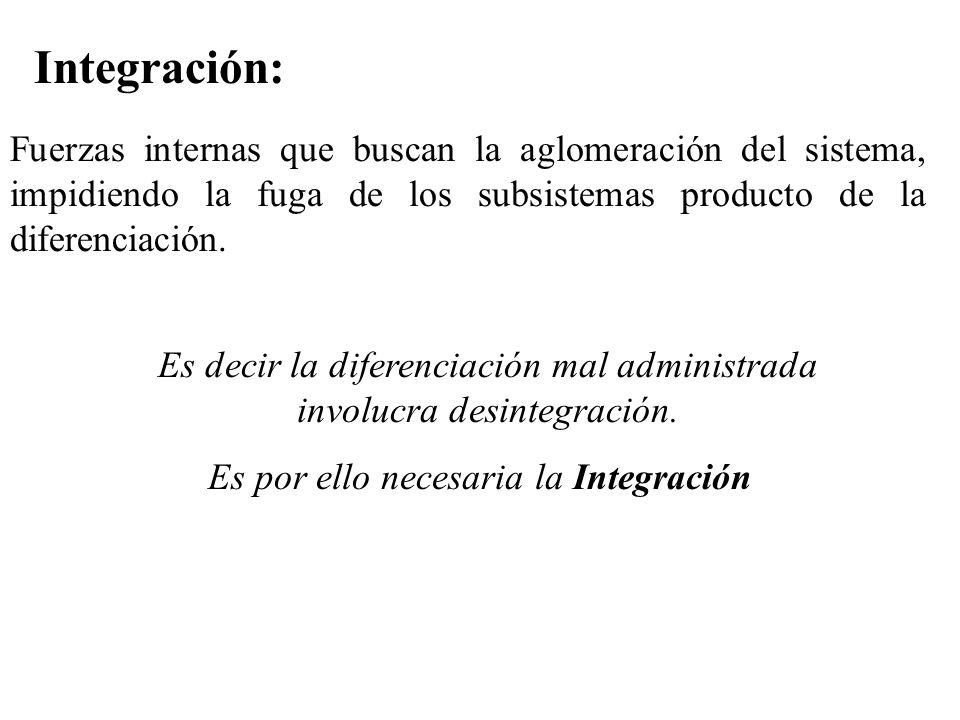 Integración: Fuerzas internas que buscan la aglomeración del sistema, impidiendo la fuga de los subsistemas producto de la diferenciación. Es decir la