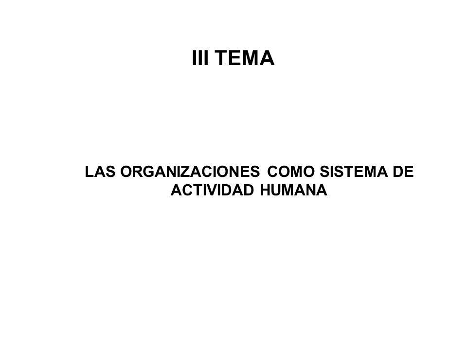 LAS ORGANIZACIONES COMO SISTEMA DE ACTIVIDAD HUMANA III TEMA