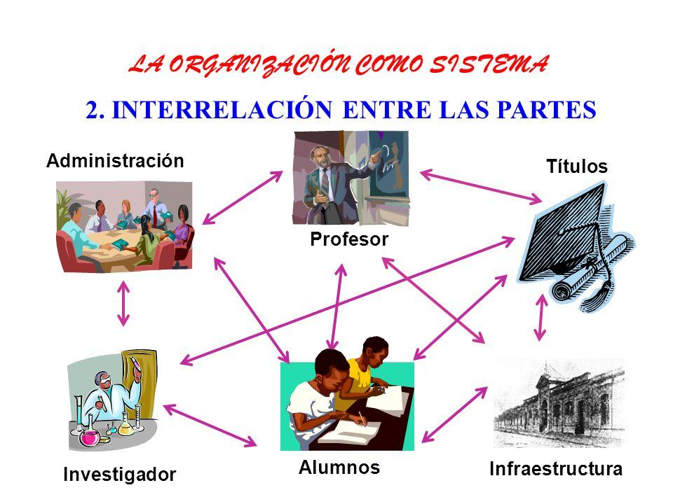 2. INTERRELACIÓN ENTRE LAS PARTES Profesor Títulos Alumnos Investigador Administración Infraestructura LA ORGANIZACIÓN COMO SISTEMA